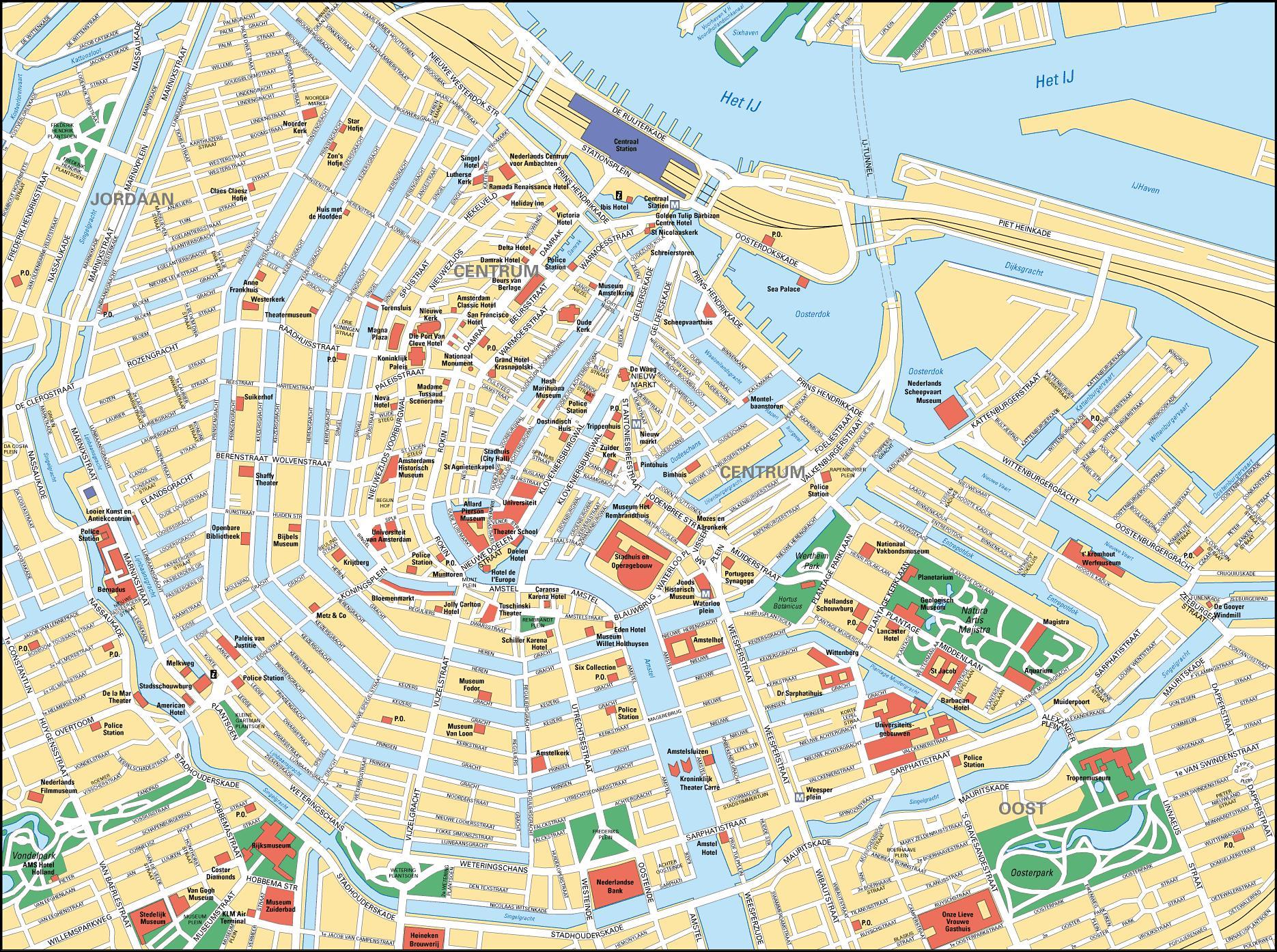 Amsterdam City Centre Map Amsterdam Kaupungin Keskustan Kartta